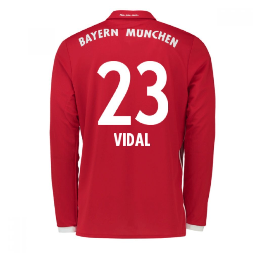 2016-17 Bayern Munich Long Sleeve Home Shirt (Vidal 23) B077YWGTTXRed Small 36-38\
