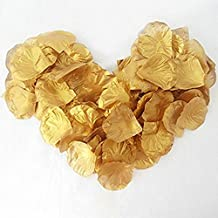 LEECO 1000pcs Lovely Beautiful Silk Flower Gold Petals Used for Wedding Bridal Christmas Party Table Scatters Flower Girl Basket Party Favors Vase Fillers Decoration,Gold Petals