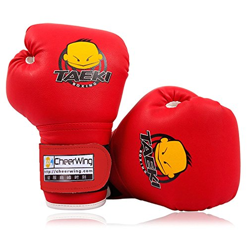 Cheerwing 4oz PU Kids Boxing Gloves Children Cartoon MMA Sparring Dajn Training Gloves Age 5-10 Years Red Youth Kids Glove