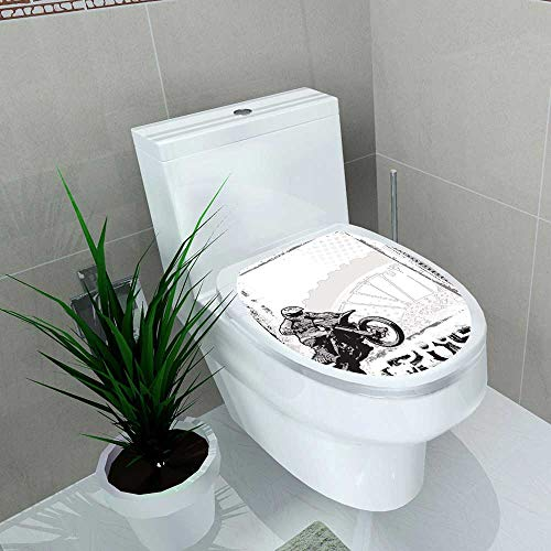 Auraise-home Waterproof self-Adhesive Motorcycle Motocross Racer Image on Grungy Style Monochromic Work Blackwhite Toilet Seat Vinyl Art Stickers W15 x L17 ()