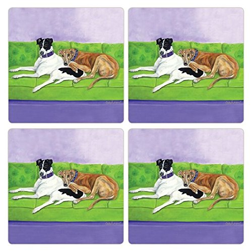 CoasterStone Absorbent Coasters (Set of 4), Greyhounds, 4-1/4