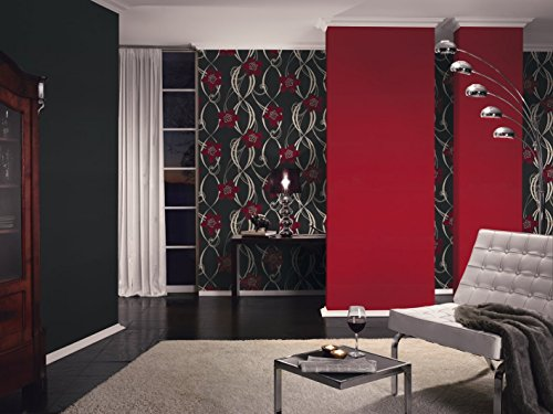 PANDORA - Modern Luxury Floral Flower Modern Red, Black Wallpaper Roll Wall Decor by A.S. Creation (Image #1)