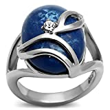 Blue Simulated Cat Eye Ring CZ 316 Stainless Steel