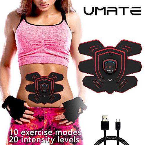 UMATE EMS Ab Stimulator Muscle Toner Adominal Toning Belts,Body Gym Workout Portable Home &Office Fitness Apparatus for Abdomen/Arm/Leg/Waist Training Equipment