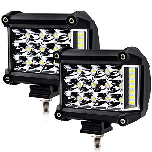LncBoc 57W LED Work Light Triple Row Spot Flood Lights Work Light Bar Mounting Bracket Included 6000K White Light for Truck,Boat,Car, ATV, SUV,Boat one year warranty Pack of 2 (57w Single Light)