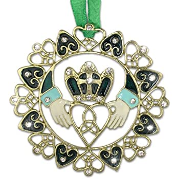 Amazon.com: Irish Christmas Ornament - Gold Claddagh Designs with ...