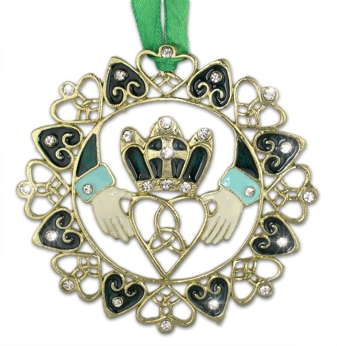 Irish Christmas Ornament - Gold Claddagh Designs with Jewels and Enamel - Gift Boxed with Irish Saying Poem ()