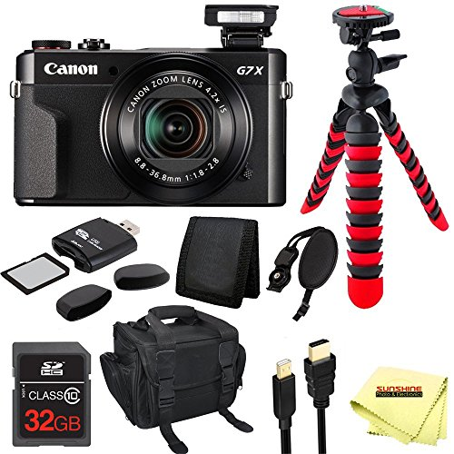 Canon PowerShot G7 X Mark II Digital Camera + 32GB Memory Card + 12'' Tripod + Carry Case + Sunshine Accessory Pack by Sunshine Photo & Electronics