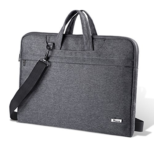Voova Laptop Bag 17 17.3 inch Water-Resistant Laptop Sleeve Case with Shoulder Straps & Handle/Notebook Computer Case Briefcase Compatible with MacBook/Acer/Asus/Hp, Grey ()