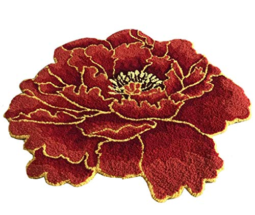 (Kedera Wedding Room Mat Floral Area Rug Handmade Rugs with Flowers Red Kids Play Rugs Anti-Skid Bath Mat Floor Rugs (28.7