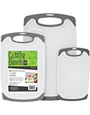 S&T 428501 BPA Free Cutting Boards W/Rubberized Grips & Juice Grooves, 3 Pack