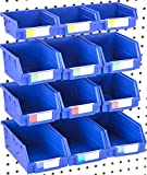 Pegboard Bins - Set of 12 - Hooks to Any Peg Board - Organize Hardware, Accessories, Attachments, Workbench, Garage Storage, Craft Room, Tool Shed, Hobby Supplies, Small Parts
