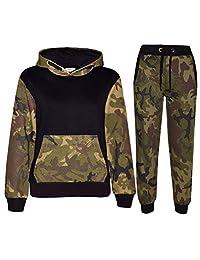 Kids Boys Girls Designer Camouflage Contrast Tracksuit Top & Bottom Jogging Suit