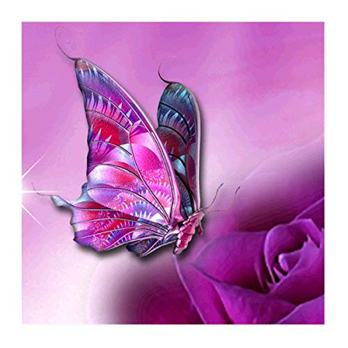 (MXJSUA 5D DIY Diamond Painting by Number Kit Fulll Round Dril Beads Crystal Rhinestone Embroidery Cross Stitch Picture Supplies Arts Craft Wall Sticker Decor Pink Butterfly 12x12In)