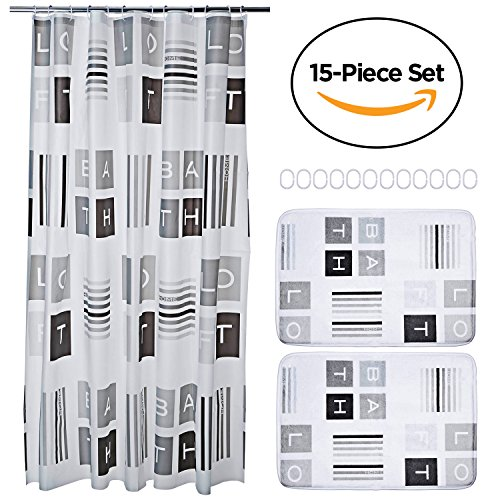 15 Piece Bathroom Set Includes Shower Curtain Liner