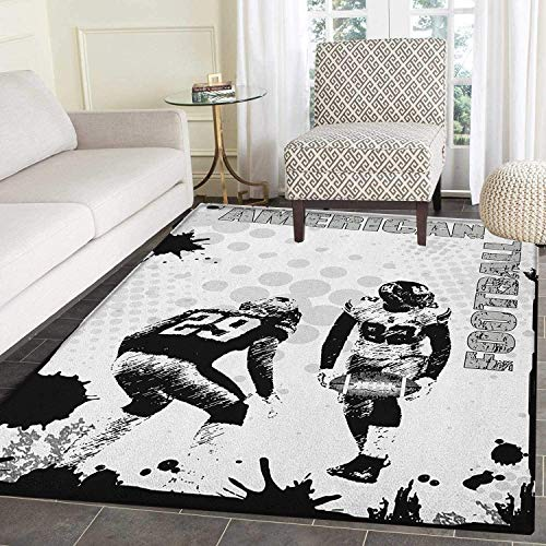 (Sports Rugs for Bedroom Grungy American Football Image International Team World Cup Kick Play Speed Victory Circle Rugs for Living Room 2'x3' Black White)