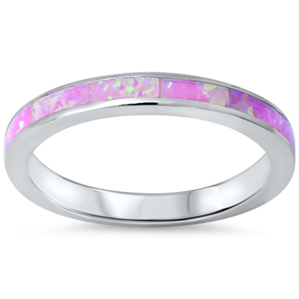 .925 Sterling Silver Womens Lab Created Opal Eternity Wedding Stackable Band Ring Sizes 4-12