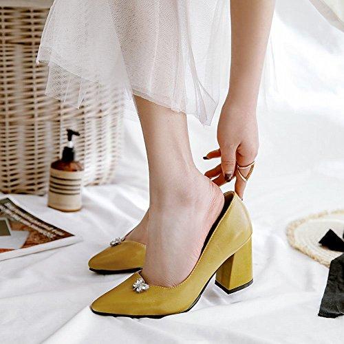 Carolbar Femmes Bout Pointu Strass Sexy Talons Hauts Pompes Chaussures Jaune