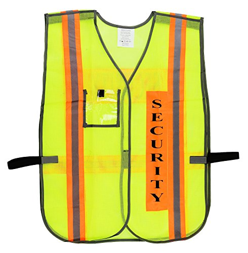 Security Safety Vest with Reflective Strips, One Size Fits All (10-Pack, Neon Lime) by New York Hi-Viz Workwear (Image #4)