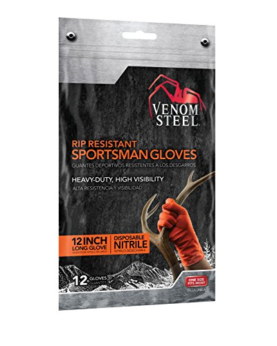 - Venom Steel Sportsman Nitrile Gloves with 12 inch Cuff, 6 mil Rip Resistant Field Dressing Gloves, One Size Fits Most (12 Count), Great for use as Game Cleaning Gloves, Fishing, Hunting, Camping