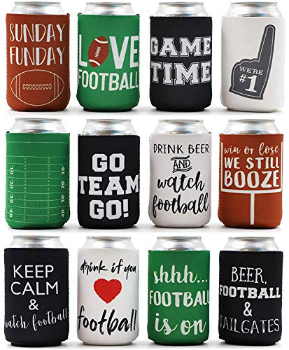 - Juvale 12-Pack Football Beer Can Cooler Insulated Neoprene Sleeve Bottle Covers for Game Day