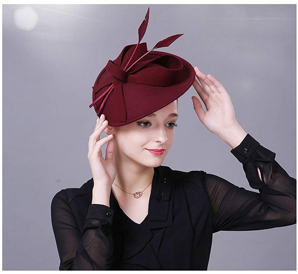 Giles Jones Fascinator Hats for Women Elegant Wool Felt Pillbox Hat Church Wedding Party Tea