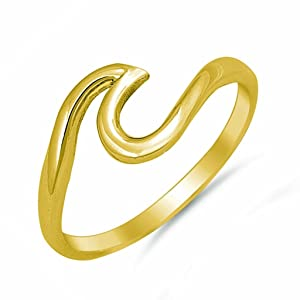 Gold Plated .925 Sterling Silver Wave Design Simple Plain Surfer Nautical Ring Band Sizes 3-10