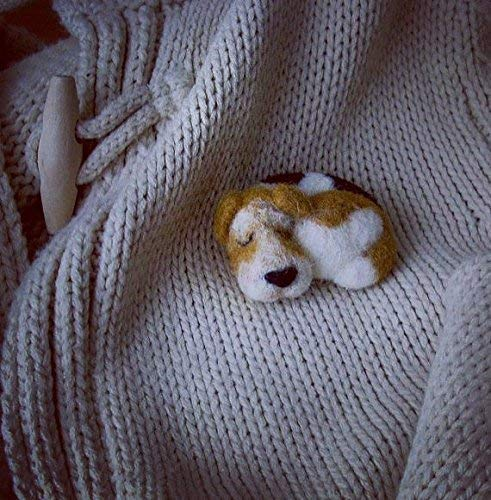 Cute needle felted dog pin brooch ()