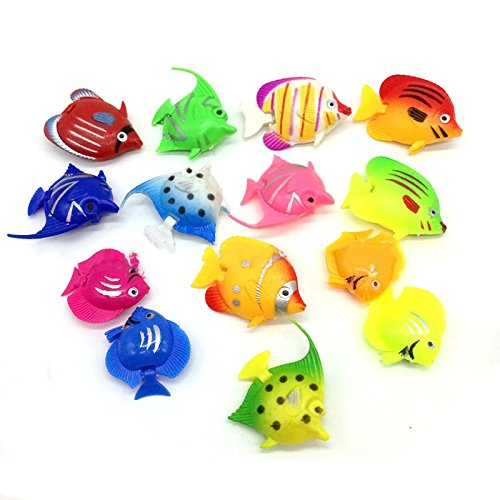 10 Pcs Plastic Artificial Decorative Aquarium Fish Tank Fish Toy Decoration Random Style Elisona