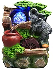 WAWLIVING Tabletop Fountain Indoor Small Rockery Desktop Mountain Cascading Waterfalls with Rolling Ball Waterwheel for Gift and Decoration
