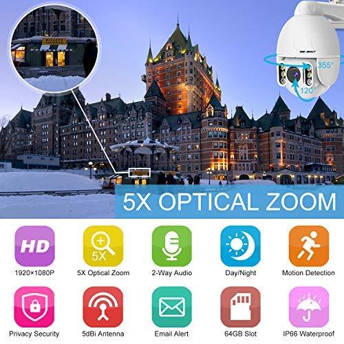 1080P WiFi Security Camera Outdoor,GENBOLT Wireless Surveillance Pan Tilt 5X Optical Zoom CCTV IP Speed Dome Camera with Auto Bright Night Light,Two Way Audio,IP66 Waterproof,Auto Focus PTZ Camera