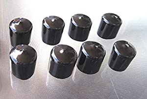 8 Pack - 1 1/4 Inch Round Black Vinyl End Cap, Flexible Pipe Post Rubber Cover