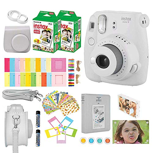 Fujifilm Instax Mini 9 Instant Camera + Accessories Bundle Includes; Carrying Case, Acrylic Magnetic Picture Frames, Album, Selfie Lens, Frames and Stickers + More (Smokey White)