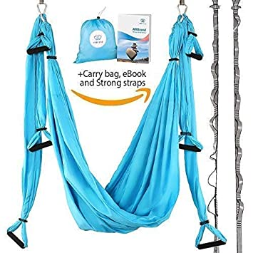 Yoga Swing – Antigravity Yoga Hammock – Aerial Trapeze – Sling – Inversion Tool for Back Pain Relief – 2 Hanging Straps – 4 Heavy Duty Carabiners – 6 ...