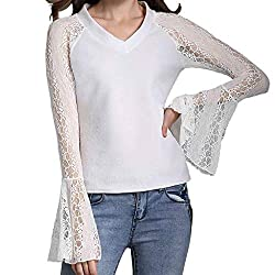 Blouses For Womens Foruu Clover Ladies Sales 2019 Under 10 Best Gift For Girlfriend Lace Perspective Trumpet Sleeve Bottoming V Neck Casual T Shirt