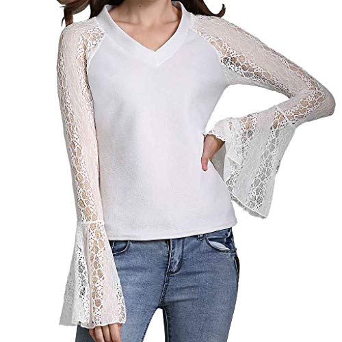 HIRIRI Women Blouses Patchwork Lace See Through V-Neck Ladies Tops Long Sleeve Shirts Spring Summer White ()