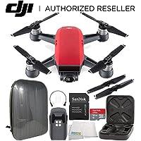 DJI Spark Portable Mini Drone Quadcopter Hardshell Backpack Starters Bundle (Lava Red)