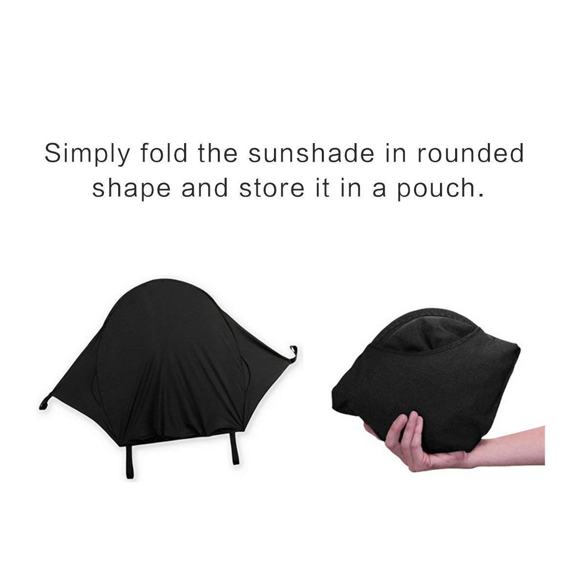 ZLMI Baby Stroller Sun Cover,Baby Carriage Awning,Infant Pushchair Sun Shade Baby Stroller Black Sun Shield Has Excellent UV Protection by ZLMI (Image #4)