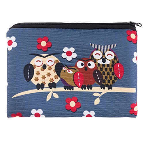 Four Owls À Hiboux Pencil Impression Kukubird Eté Quatre Sur Simple Sac Case Fermeture Printemps Glissière Maquillage Branche Design Grey zqwaTq