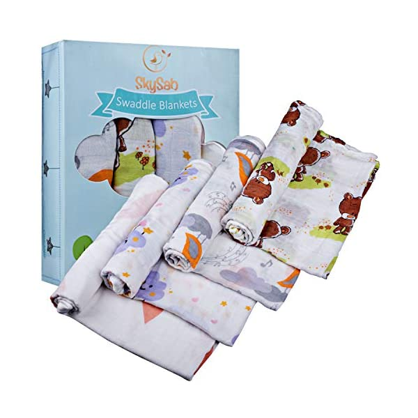SkySab Baby Swaddle Blanket Wrap | Set of 4 Swaddles – Neutral Bear Bird Cloud | Soft Silky Bamboo Swaddling & Receiving Cloth | Unisex Boys Girls | Large Sized 47 x 47 Inches | Perfect Shower Gift