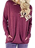 Lyxinpf Women's Casual Round Neck Sweatshirts Slouchy Pockets Pullover Long Sleeve Loose T Shirts Blouses Tops Fuchsia S