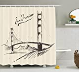 Ambesonne Apartment Decor Collection, San Francisco Bridge Simple Classic Vintage Engraved Sketch Style Illustration Image, Polyester Fabric Bathroom Shower Curtain Set with Hooks, Sepia Cream