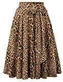 Belle Poque Women Flared Skirt Bow A-Line Skirt Leopard Skirts High Waisted Knee Length, L