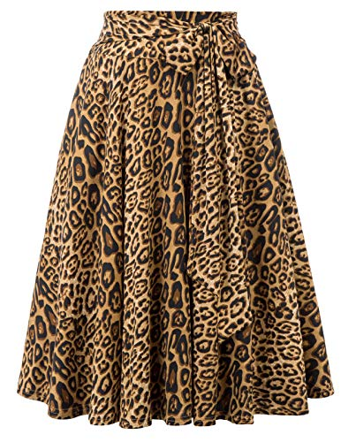 Leopard Skirt for Women Plus Size Womens Aline Swing Skirts with Pocked,Size 2XL