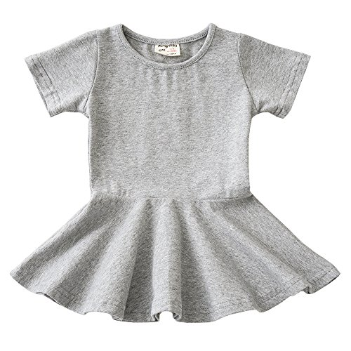 Infant Toddler Baby Girls Dress Cozy Ruffles Long Sleeves Cotton (12-18m(86), Grey 1)