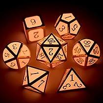 Haxtec 7PCS Zinc Alloy DND Metal Dice Set D&D Dice D20 D12 D10 D8 D6 D4 for Dungeons and Dragons DND RPG MTG Table Games-Glossy Enamel Dice (TiffanyBlue)