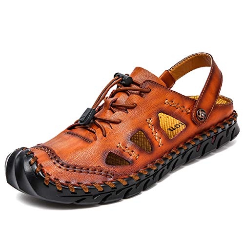 Damaizhang Men Outdoor Sport Walking Shoes Fashion Casual Comfortable Beach Sandals Round Toe Sandals Reddish-Brown from Damaizhang