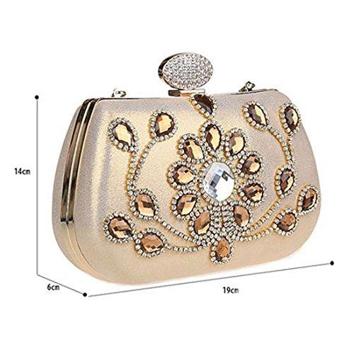 HT Evening Bag - Cartera de mano para mujer champán