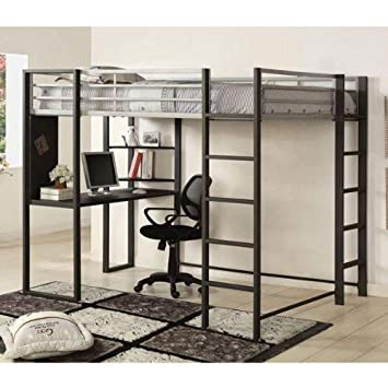 24 7 Shop at Home 247SHOPATHOME IDF-BK1098F Bunk Bed, Full, Silver, Black