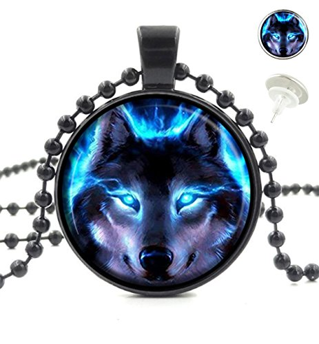 Cool Jewelry Custom (OneBee Luminous Wolf Cool Blue Flame Custom Fashion Black Pendant Crystal Glass Necklace Tag Earrings Jewelry Set)